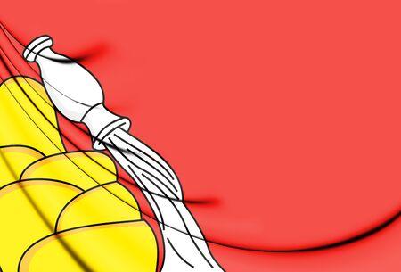 3D Flag of Voronezh Oblast, Russia. 3D Illustration.