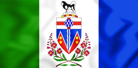 yukon territory: 3D Flag of Yukon, Canada. 3D Illustration.