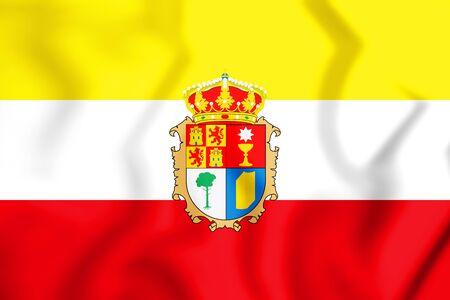 3D Flag of Cuenca province, Spain. 3D Illustration.
