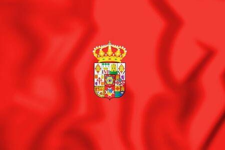 3D Flag of Ciudad Real Province, Spain. 3D Illustration. Imagens