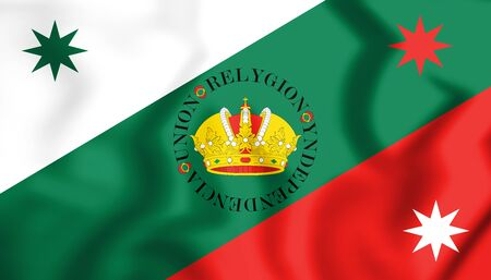 3D Flag of Mexican Regency (First Flag of the Mexican Empire). 3D Illustration.