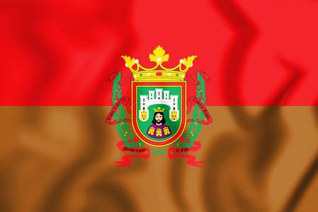 leon de dibujos animados: 3D Flag of Burgos City, Spain. 3D Illustration.