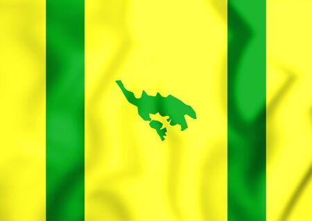 3D Flag of Isla Culebra, Puerto Rico. 3D Illustration. Stock Photo