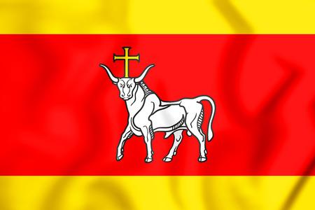 3D Flag of Kaunas, Lithuania. 3D Illustration.