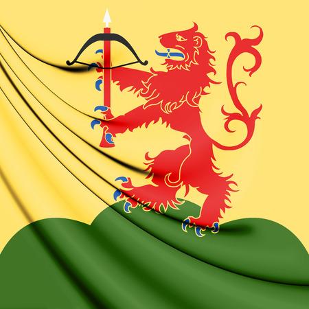 lan: 3D Flag of Kronoberg County, Sweden. 3D Illustration. Stock Photo