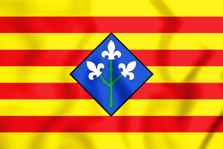 3D Flag of Lleida Province, Spain. 3D Illustration.