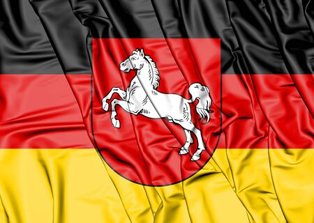 3D Flag of Lower Saxony, Germany. 3D Illustration.