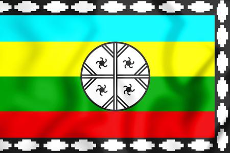 bandera chilena: Bandera mapuche del territorio de Nagche. Ilustración 3D.