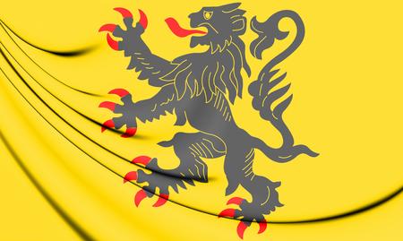 3D Flag of Nord-Pas-de-Calais, France. 3D Illustration. Stock Photo