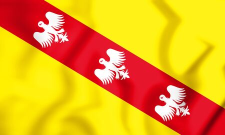 blason: 3D Flag of Lorraine, France. 3D Illustration.