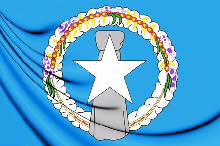 3D Flag of Northern Mariana Islands. 3D Illustration.