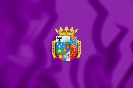 3D Flag of Palencia Province, Spain. 3D Illustration.
