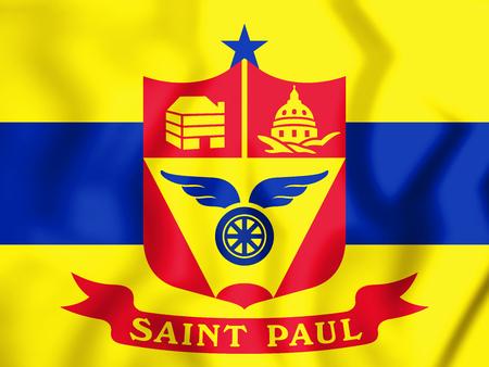 paul: 3D Flag of Saint Paul (Minnesota), USA. 3D Illustration. Stock Photo