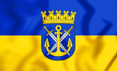 3D Flag of Solingen (North Rhine-Westphalia), Germany. 3D Illustration. Stock Photo