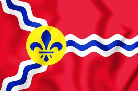 missouri: 3D Flag of St. Louis (Missouri), USA. 3D Illustration.
