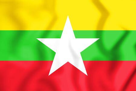 3D Flag of the Myanmar. 3D Illustration.