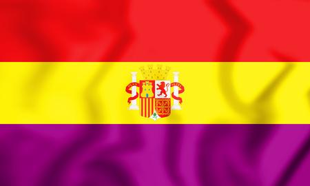 3D Flag of the Second Spanish Republic. 3D Illustration.