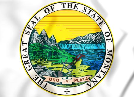 State Seal of the Montana state, USA. 3D Illustration. Фото со стока