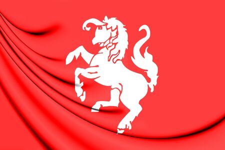 3D Flag of Twente (Overijssel), Netherlands. 3D Illustration.