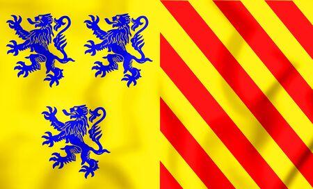 Alternate Flag of Limousin, France. 3D Illustration. Stock Photo
