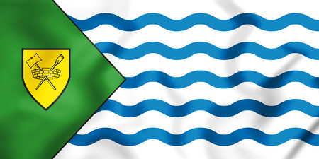 vancouver city: 3D Flag of Vancouver city, Canada. 3D Illustration.