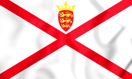 3D Flag of Bailiwick of Jersey. 3D Illustration.