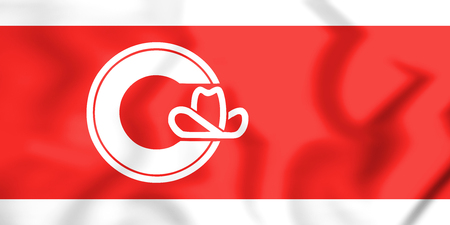 calgary: 3D Flag of Calgary (Alberta), Canada. 3D Illustration. Stock Photo