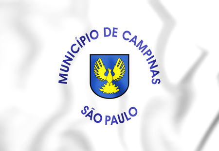 municipality: 3D Flag of Campinas (Sao Paulo state), Brazil. 3D Illustration.