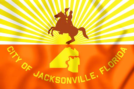 3D Flag of Jacksonville (Florida), USA. 3D Illustration.
