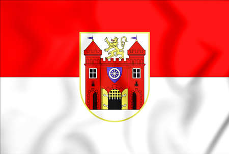 3D Flag of Liberec, Czech Republic. 3D Illustration. Stock Photo