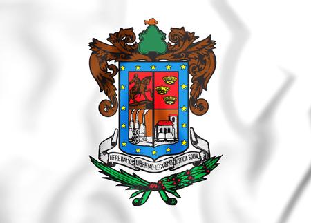 ocampo: 3D Flag of Michoacan, Mexico. 3D Illustration. Stock Photo