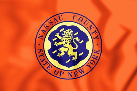 3D Flag of Nassau County (New York), USA. 3D Illustration.