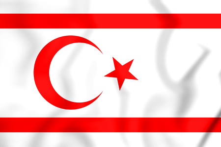3D Flag of Northern Cyprus. 3D Illustration. Stock Photo