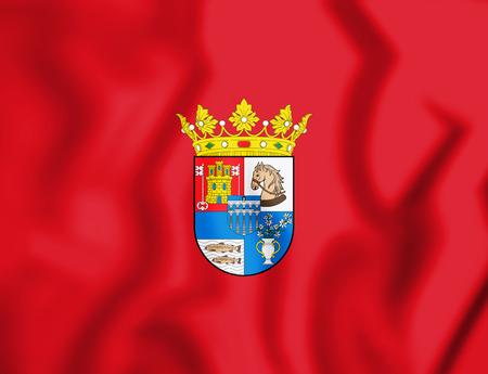 leon de dibujos animados: 3D Flag of Segovia Province, Spain. 3D Illustration. Foto de archivo