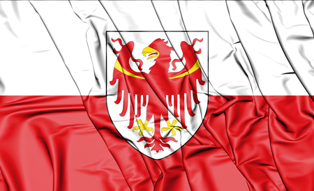 3D Flag of South Tyrol, Italy. 3D Illustration.