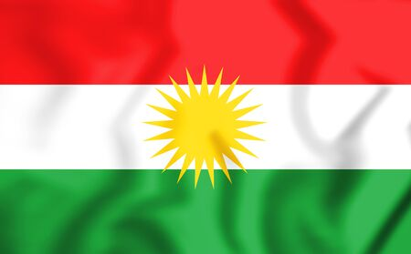3D Flag of the Kurdistan. 3D Illustration. Stock Photo