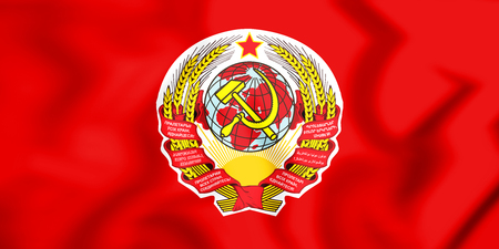 3D Flag of the Soviet Union (1923). 3D Illustration. Banco de Imagens