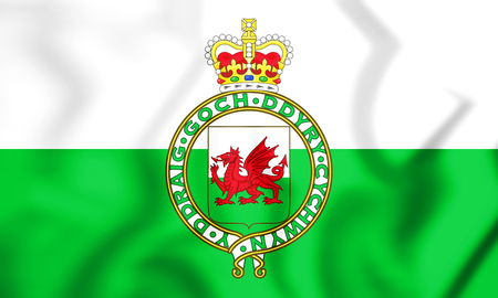 3D Flag of the Wales (1953-1959). 3D Illustration.