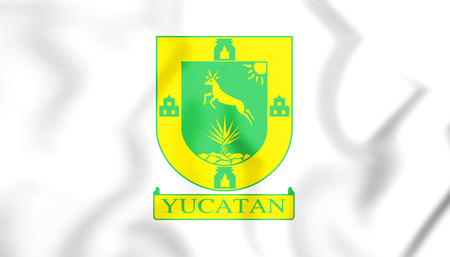 3D Flag of Yucatan State, Mexico. 3D Illustration. Stock Photo
