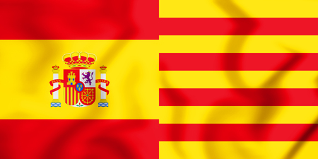 catalonia: 3D Flags of Spain and Catalonia. 3D Illustration.