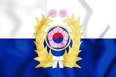 3D Republic of Korea Army Flag. 3D Illustration.