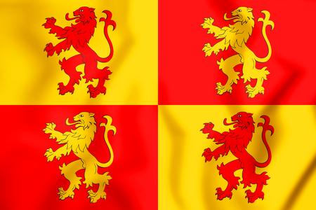 nationalist: 3D Sons of Glyndwr Flag. 3D Illustration.