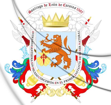 Caracas coat of arms, Venezuela. 3D Illustration.