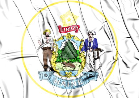 State Seal of the Maine state, USA. 3D Illustration. Stock Photo