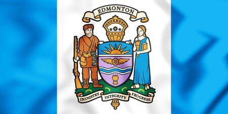 3D Flag of Edmonton, Canada. 3D Illustration. Stock Photo