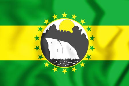 Bandera 3D del distrito de La Chorrera. Ilustración 3D.