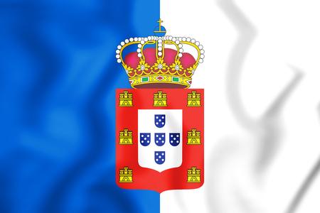 3D Flag of the Portugal (1830-1910). 3D Illustration.