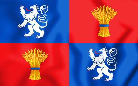 gascony: 3D Flag of Gascony, France. 3D Illustration. Stock Photo