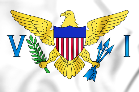 virgin islands: 3D Flag of Virgin Islands of United States. 3D Illustration.