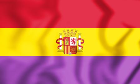 3D Flag of Second Spanish Republic. 3D Illustration.